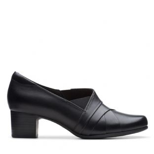 Clarks Un Damson Adele Black Leather Womens Shoes